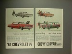 1961 Chevy Car Ad - Biscayne, Impala, Corvair, Lakewood