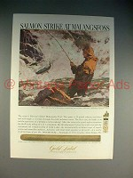 1965 Gold Label Jaguar 70 Cigar Ad - Salmon Strike