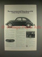 1966 Volkswagen VW Bug Beetle Car Ad - Most Economical