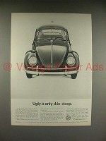 1966 Volkswagen VW Bug, Beetle Car Ad - Ugly Skin-Deep