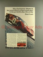 1967 Autolite Spark Plugs Ad w/ Ford GT Race Car