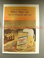 1968 Miller High Life Beer Ad - Champagne Gold Cans