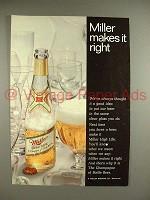 1969 Miller High Life Beer Ad - Makes it Right!