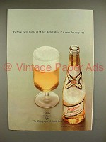 1969 Miller High Life Beer Ad - Brew as if The Only One