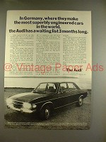 1970 Audi 100LS Car Ad - Superbly Engineered