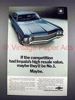1970 Chevrolet Impala Car Ad - High Resale Value