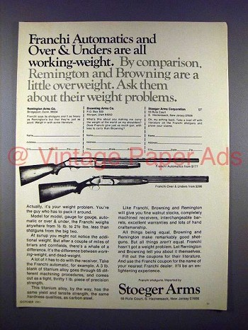 1971 Franchi Automatic & Over & Under Shotgun Ad!