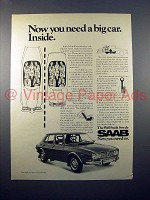 1971 Saab 99 Sedan Car Ad - You Need a Big Car Inside