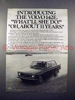 1971 Volvo 142E Car Ad - What'll She Do?