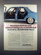 1971 Audi Car Ad - Same Headroom and Legroom