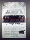 1971 Toyota Car Ad - Not Exactly the Tunnel of Love