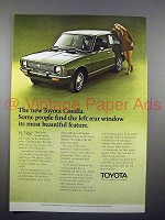 1971 Toyota Car Ad - Left Rear Window Beautiful!