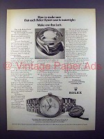 1972 Rolex Oyster Perpetual Date Watch Ad - Watertight!