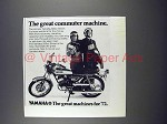 1972 Yamaha 200cc Street Motorcycle Ad - Commuter!