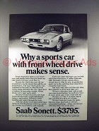 1972 Saab Sonett Car Ad - Front Wheel Drive Makes Sense