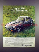 1972 Jaguar 2+2 Car Ad - V-12: The Ultimate Cat!