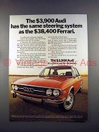 1973 Audi 100LS Car Ad - Same Steering as Ferrari