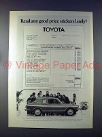 1972 Toyota Corolla 1200 Car Ad - Good Price Stickers