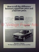 1972 Toyota Corolla 1200 Car Ad - Good Low Price!