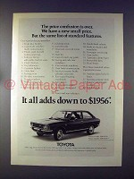 1972 Toyota Corolla 1200 Car Ad - It All Adds Down