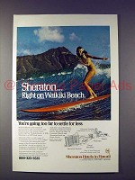 1975 Sheraton Hotels in Hawaii Ad - Surfer Girl!