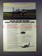 1975 Beechcraft Baron 58 Plane Ad - Save Fuel!