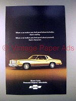 1977 Chevrolet Monte Carlo Car Ad - Good Looks!
