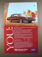 1981 Chevrolet Monte Carlo Car Ad - Engage the Mind