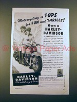 1947 Harley-Davidson Motorcycle Ad - Tops for Thrills