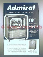1950 Admiral Television Ad - Greatest Value!