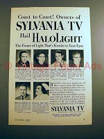 1953 Sylvania TV Ad - Owners Hail HaloLight