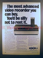 1980 DER VHS Video Recorder Ad - Silly Not to Rent It