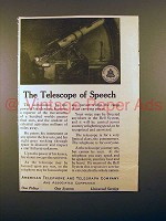 1913 AT&T Telephone Ad - The Telescope of Speech