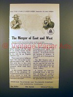 1913 AT&T Telephone Ad - Merger of East and West