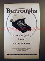 1925 Burroughs Adding Machine Ad - Insures Accuracy