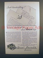 1930 Royal Portable Typewriter Ad - Such Handwriting!