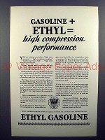 1928 Ethyl Gasoline Gas Ad - High Compression!