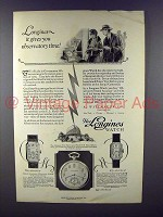 1926 Longines Watch Ad - Gives Observatory Time