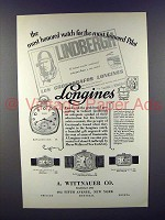 1928 Longines 109, 205, 146, 132 Watch Ad - Lindbergh