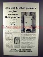 1929 General Electric All-Steel Refrigerator Ad