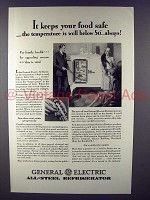 1929 General Electric All-Steel Refrigerator Ad - Keeps Food Safe