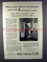 1930 Kelvinator Refrigerator Ad - 4 Services in One
