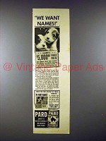 1939 Pard Dog Food Ad, Twin Wire-Haired Terrier Puppies - Names