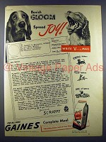 1945 Gaines Dog Food Ad - Banish Gloom, Spread Joy