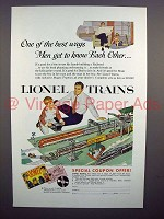 1954 Lionel Train Ad - Men Get to Know Each Other!