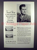 1929 Simmons Beautyrest Mattress Ad w/ Gene Tunney