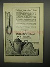 1922 International Sterling Silver Ad - Trianon Service