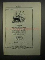 1923 Royal Mail Steam Ship Ad - Comfort