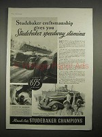 1935 Studebaker Car Ad - Speedway Stamina - Indy Race