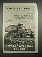 1935 International Harvester Dump Truck Ad - Job Calls